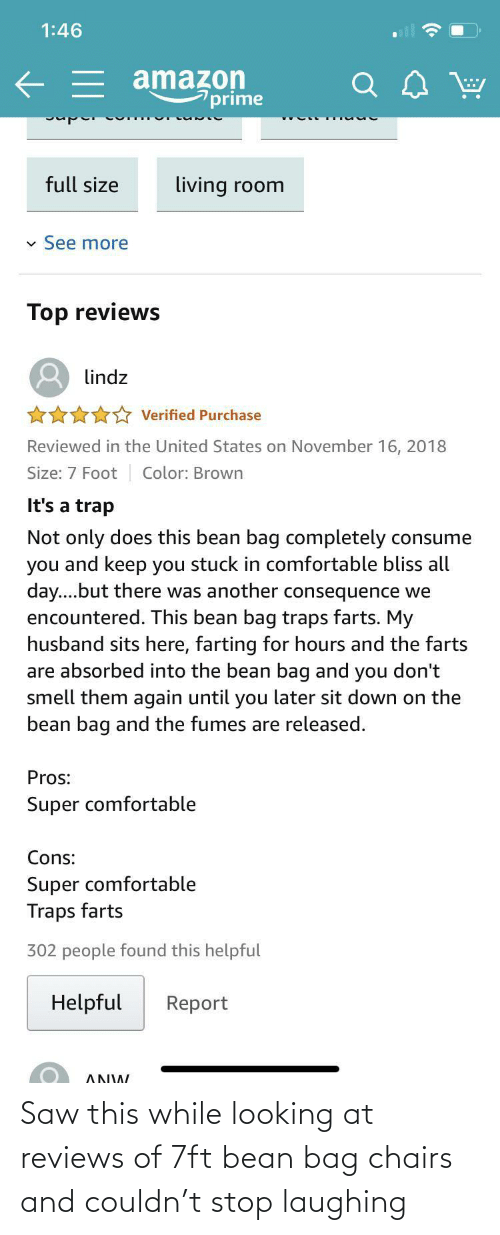 While: Saw this while looking at reviews of 7ft bean bag chairs and couldn't stop laughing