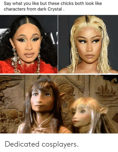 cosplayers: Say what you like but these chicks both look like  characters from dark Crystal. Dedicated cosplayers.