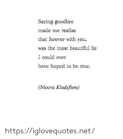 Beautiful, True, and Forever: Saying goodbye  made mc realise  that forever with you.  was the most beautiful lie  I could ever  have hoped to be true.  (Niocra Kladsflem) https://iglovequotes.net/