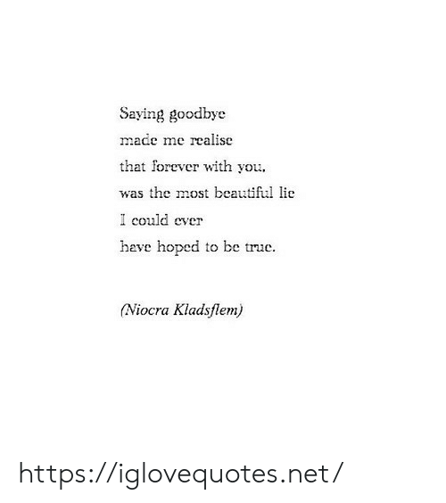 Beautiful, True, and Forever: Saying goodbye  made me realise  that forever with you  was the most beautiful lie  I could ever  have hoped to be true.  (Niocra Kladsflem) https://iglovequotes.net/