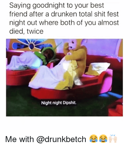 Best Friend, Funny, and Shit: Saying goodnight to your best  friend after a drunken total shit fest  night out where both of you almost  died, twice  Night night Dipshit. Me with @drunkbetch 😂😂🙌🏻