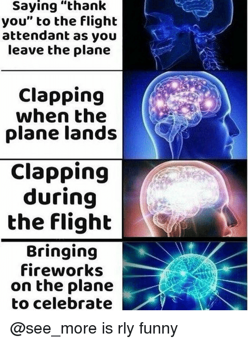 "Funny, Thank You, and Fireworks: Saying ""thank  you"" to the flight  attendant as you  leave the plane  Clapping  when the  plane lands  Clapping  during  the flight  Bringing  fireworks  on the plane  to celebrate @see_more is rly funny"