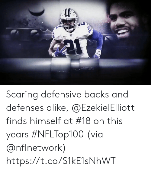 Defensive: Scaring defensive backs and defenses alike, @EzekielElliott finds himself at #18 on this years #NFLTop100  (via @nflnetwork) https://t.co/S1kE1sNhWT