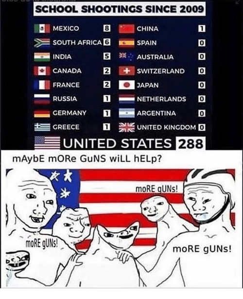 Africa, Guns, and School: SCHOOL SHOOTINGS SINCE 2009  I MEXICO CHINA  SOUTH AFRICA SPAIN  0  0  CANADA 2 SWITZERLAND O  0  N-NETHERLANDS 。  ARGENTINA O  GREECE UNITED KINGDOM。  INDIA  S  AUSTRALIA  FRANCE2  RUSSIA  CERMANY T  UNITED STATES 288  mAybE mORe GuNS wiLL hELp?  MoRE gUNs!  bco