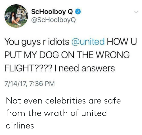 united airlines: @ScHoolboyQ  You guys r idiots @united HOW U  PUT MY DOG ON THE WRONG  FLIGHT???? I need answers  7/14/17, 7:36 PM Not even celebrities are safe from the wrath of united airlines