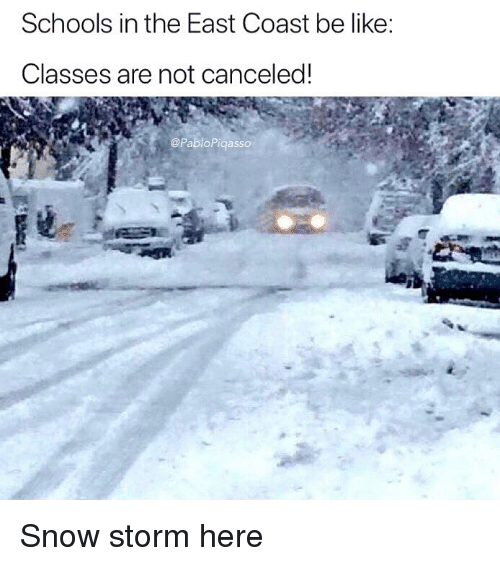 snow storm: Schools in the East Coast be like:  Classes are not canceled!  @PabloPiqasso Snow storm here