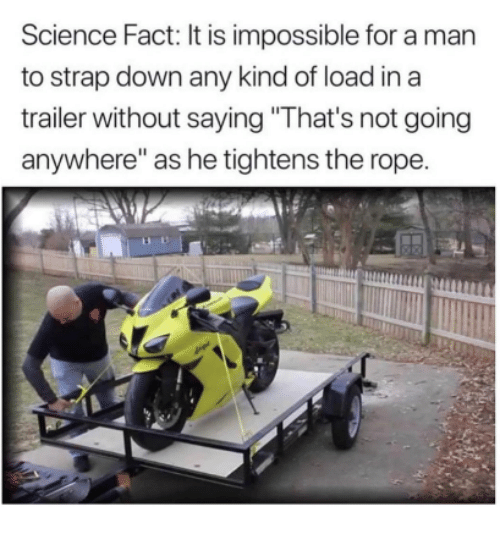 "Science, Down, and Man: Science Fact: It is impossible for a man  to strap down any kind of load in a  trailer without saying ""That's not going  anywhere"" as he tightens the rope."