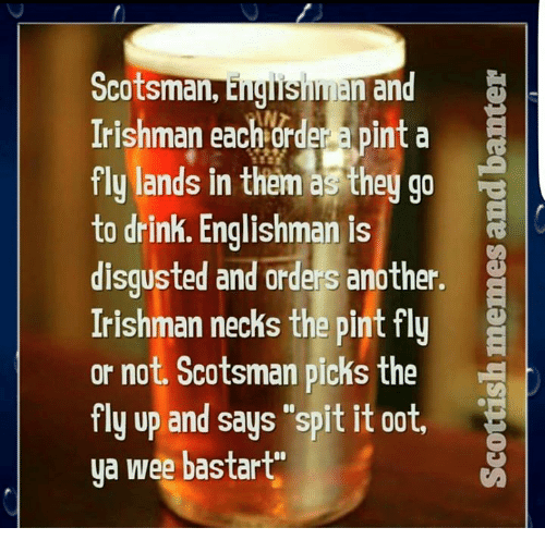 """Ooting: Scotsman,  E  an  Irishman AN  a pint a  each order fly lands in them as they go  to drink. Englishman is  R  disgusted and orders another.  Irishman necks the pint fly  or not. Scotsman picks the  fly up and says """"spit it oot,  ya wee bastart"""""""