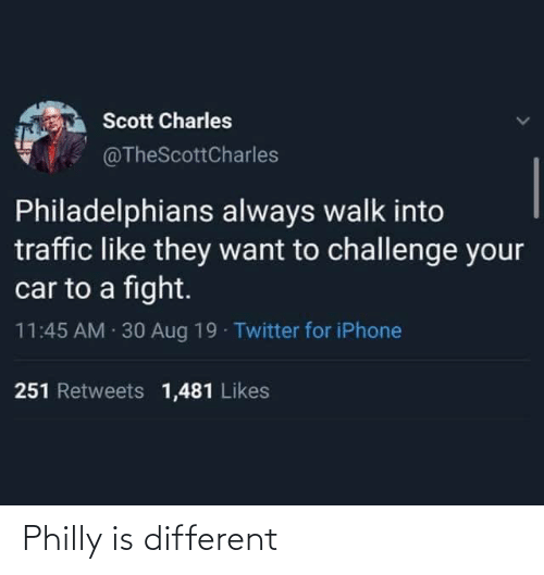 Blackpeopletwitter, Funny, and Iphone: Scott Charles  @TheScottCharles  Philadelphians always walk into  traffic like they want to challenge your  car to a fight.  11:45 AM · 30 Aug 19 - Twitter for iPhone  251 Retweets 1,481 Likes Philly is different