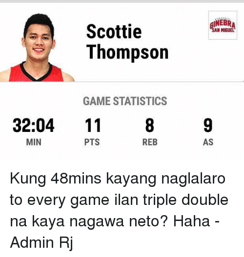 Memes, Miguel, and Statistics: Scottie  Thompson  GAME STATISTICS  32:04  11  MIN  REB  PTS  SAN MIGUEL  AS Kung 48mins kayang naglalaro to every game ilan triple double na kaya nagawa neto? Haha  -Admin Rj