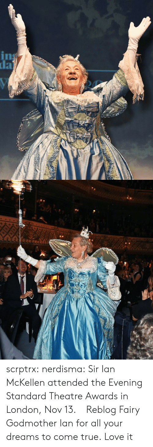 Love, True, and Tumblr: scrptrx: nerdisma:  Sir Ian McKellen attended the Evening Standard Theatre Awards in London, Nov 13.      Reblog Fairy Godmother Ian for all your dreams to come true.   Love it