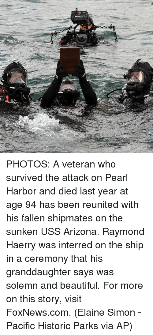 solemn: SCUBA PHOTOS: A veteran who survived the attack on Pearl Harbor and died last year at age 94 has been reunited with his fallen shipmates on the sunken USS Arizona. Raymond Haerry was interred on the ship in a ceremony that his granddaughter says was solemn and beautiful. For more on this story, visit FoxNews.com. (Elaine Simon - Pacific Historic Parks via AP)