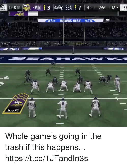 Football, Nfl, and Sports: SEA 7 4TH 2:59 12  :33  7-4  25  sT&10 Whole game's going in the trash if this happens... https://t.co/1JFandIn3s