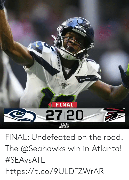 The Road: SEA KS  FINAL  27 20 FINAL: Undefeated on the road. The @Seahawks win in Atlanta! #SEAvsATL https://t.co/9ULDFZWrAR