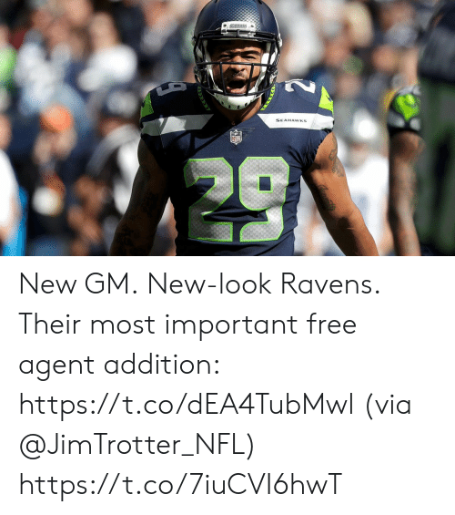 Memes, Nfl, and Free: SEAHAWKS New GM. New-look Ravens.  Their most important free agent addition: https://t.co/dEA4TubMwl (via @JimTrotter_NFL) https://t.co/7iuCVI6hwT