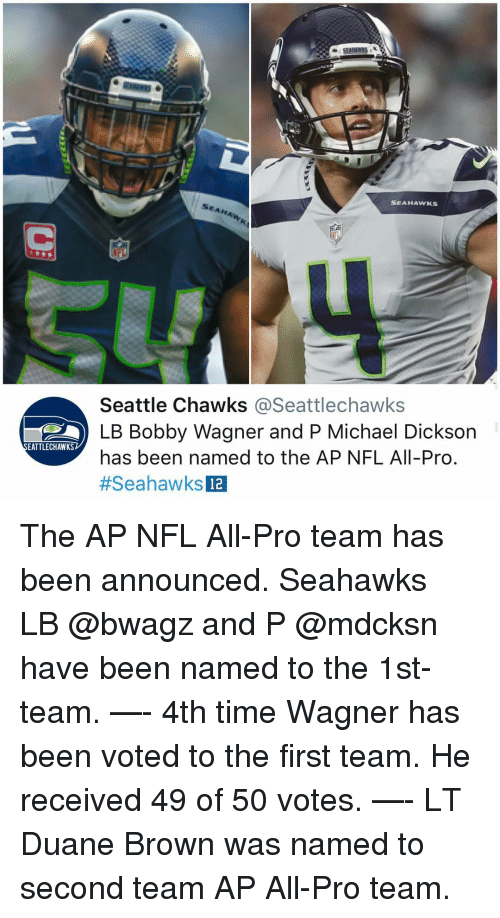 Memes, Nfl, and Michael: SEAHAWKS  Seattle Chawks @Seattlechawks  LB Bobby Wagner and P Michael Dickson  has been named to the AP NFL All-Pro  #SeahawksE  EATTLECHAWKS  12 The AP NFL All-Pro team has been announced. Seahawks⁠ ⁠LB @bwagz and P @mdcksn have been named to the 1st-team. —- 4th time Wagner has been voted to the first team. He received 49 of 50 votes. —- LT Duane Brown was named to second team AP All-Pro team.