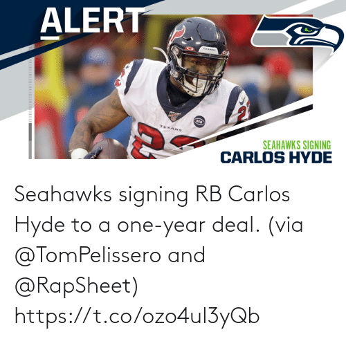 Signing: Seahawks signing RB Carlos Hyde to a one-year deal. (via @TomPelissero and @RapSheet) https://t.co/ozo4ul3yQb
