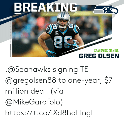 Signing: .@Seahawks signing TE @gregolsen88 to one-year, $7 million deal. (via @MikeGarafolo) https://t.co/iXd8haHngl