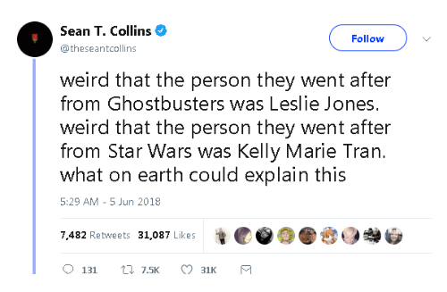Ghostbusters: Sean T. Collins  Follow  @theseantcollins  weird that the person they went after  from Ghostbusters was Leslie Jones.  weird that the person they went after  from Star Wars was Kelly Marie Tran.  what on earth could explain this  5:29 AM 5 Jun 2018  7,482 Retweets 31,087 Likes