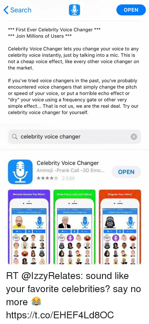 Search OPEN First Ever Celebrity Voice Changer * Join