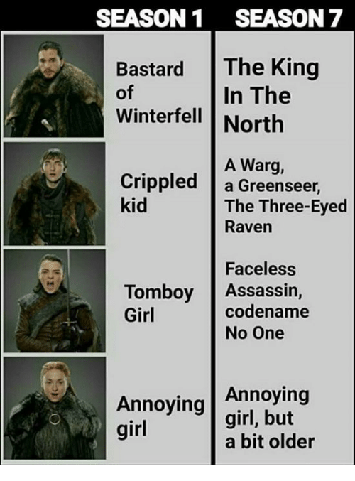 three eyed raven: SEASON1 SEASON 7  Bastard The King  In The  of  Winterfell North  A Warg,  Crippled a Greenseer,  kid  The Three-Eyed  Raven  Faceless  codename  Tomboy Assassin,  Girl  No One  Annoying  Annoying |girl, but  girl  a bit older
