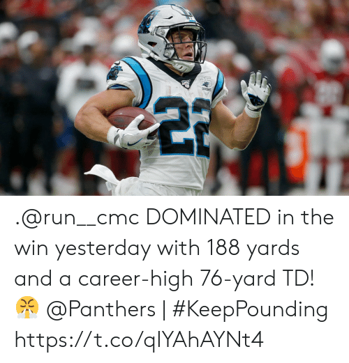 cmc: SEASONS .@run__cmc DOMINATED in the win yesterday with 188 yards and a career-high 76-yard TD! ?   @Panthers | #KeepPounding https://t.co/qIYAhAYNt4