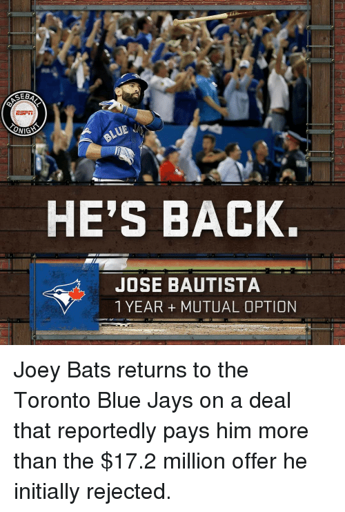 Blue Jay: SEB  ESrin  ONIGS  HE'S BACK.  JOSE BAUTISTA  1 YEAR MUTUAL OPTION Joey Bats returns to the Toronto Blue Jays on a deal that reportedly pays him more than the $17.2 million offer he initially rejected.