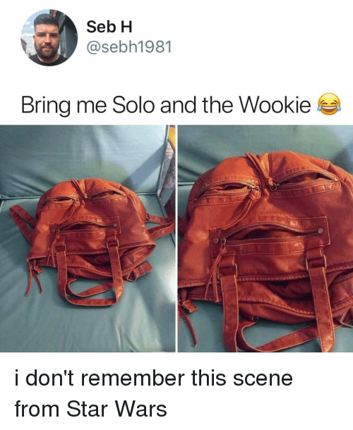 seb: Seb H  @sebh1981  Bring me Solo and the Wookie i don't remember this scene from Star Wars