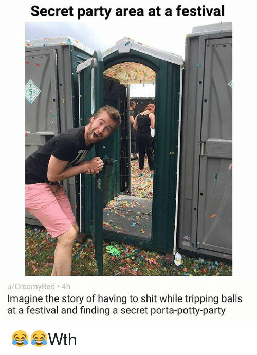 porta potty: Secret party area at a festival  T SD  u/CreamyRed 4h  Imagine the story of having to shit while tripping balls  at a festival and finding a secret porta-potty-party 😂😂Wth