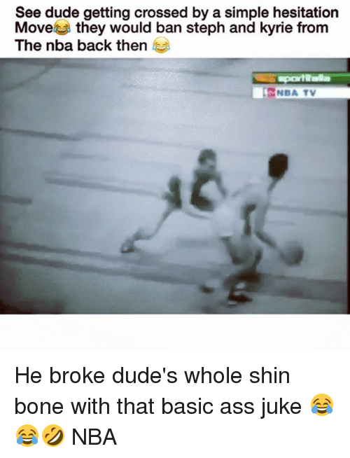 juked: See dude getting crossed by a simple hesitation  Move  they would ban steph and kyrie from  The nba back then  NBA TV He broke dude's whole shin bone with that basic ass juke 😂😂🤣 NBA