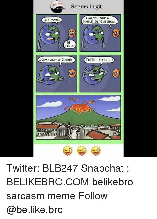 Be Like, Meme, and Memes: Seems Legit.  UHH, You GOT A  PIMPLE ON YOUR BROW  HEY MARS!  HI  EART  GROSS! WAIT A SECOND  THERE- FIKED IT Twitter: BLB247 Snapchat : BELIKEBRO.COM belikebro sarcasm meme Follow @be.like.bro