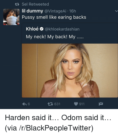 Blackpeopletwitter, Pussy, and Smell: Sel Retweeted  lil dummy @VintageAi 16h  Pussy smell like earing backs  Khloé @khloekardashian  My neck! My back! My  631  911 <p>Harden said it&hellip; Odom said it&hellip; (via /r/BlackPeopleTwitter)</p>