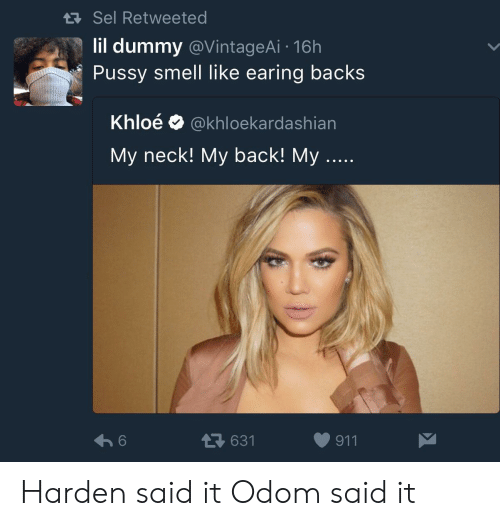 Pussy, Smell, and Back: Sel Retweeted  lil dummy @VintageAi 16h  Pussy smell like earing backs  Khloé @khloekardashian  My neck! My back! My  631  911 Harden said it Odom said it