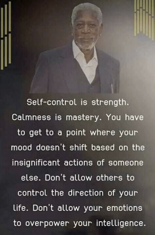 Life, Memes, and Mood: Self-control is strength.  Calmness is mastery. You have  to get to a point where your  mood doesn't shift based on the  insignificant actions of someone  else. Don't allow others to  control the direction of your  Life. Don't allow your emotions  to overpower your intelligence.