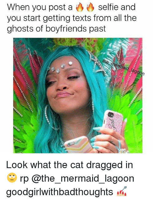 Pasteing: selfie and  When you post a  you start getting texts from all the  ghosts of boyfriends past  th Look what the cat dragged in 🙄 rp @the_mermaid_lagoon goodgirlwithbadthoughts 💅🏼