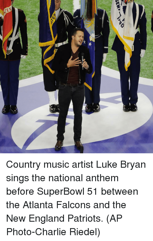 Atlanta Falcon: SEM  SELF Country music artist Luke Bryan sings the national anthem before SuperBowl 51 between the Atlanta Falcons and the New England Patriots. (AP Photo-Charlie Riedel)