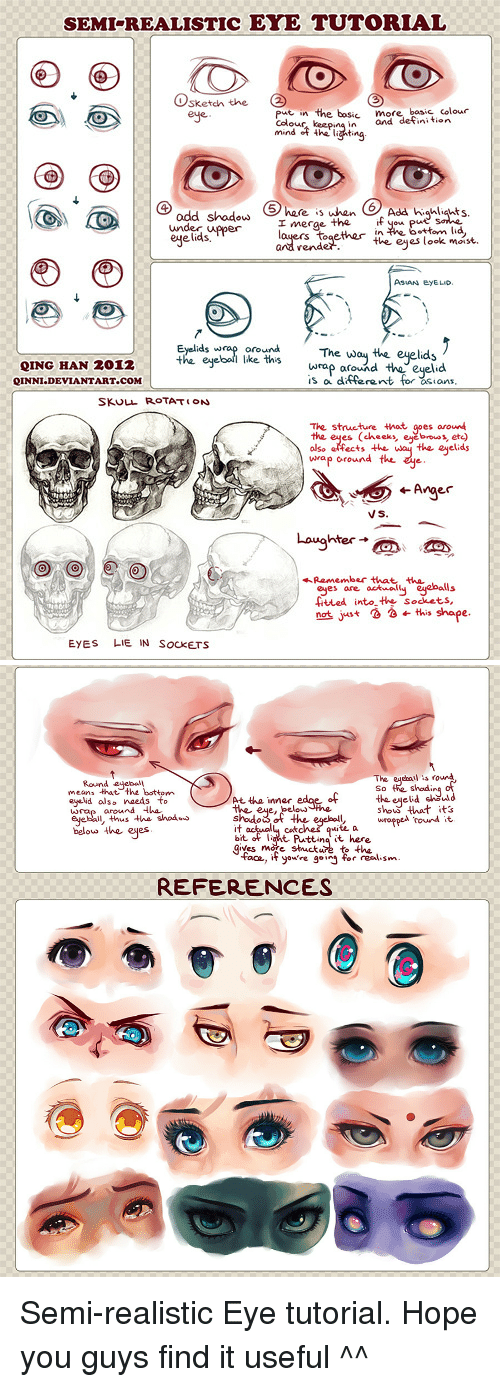 Gif, Deviantart, and Http: SEMI-REALISTIC EYE TUTORIAL  Osketch the  eje  put in the bosic more, bosic colour  Colou  mou keeping in and defini tion  she  6 Add highliahts  merge the  render.  uger  ttom lid  ejelids,  nai rsn te.aeee ok mo  Eyelids wrap oroThe way the eyelids  the eyebol ike this  QING HAN 2012  QINNI.DEVIANTART.COM  wrap around theeyelid  is a differant for sian  SKULL ROTAT ON  The structure that gpes aroun  the eyes (chees, ete)  olse effects theay the eyeclias  wrap oround the  VS.  hter-  eyes are aalls  ited into the Sockets,  the  not juist  ← this shape.  EYES LIE IN SocKETS   The eqebail is round  So the shadin  the ejeid choul d  show that its  wroppe rond t.  Round edebal  means that the bottom  eyelid also naeds to  wra around de  eyebal, thus h shoáoo  At tha inner edae ofhe ered  the eue, below  the  belouo the eyes  it octuallu catches quite a  bit of lant. Putting it here  gives more stucture to the  face, if you're g°ij for realism.  REFERENCES  Semi-realistic Eye tutorial. Hope you guys find it useful ^^