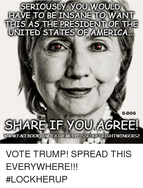 Vote Trump: SERIOUSLY YOU WOULD  HAVE TO BE INSANE TO WANT  THIS AS THE PRESIDENT OF THE  UNITED STATES OF AMERICA  D-DOG  SHARE IF YOU AGREE!  WWWFACEBOOKCOMEXTREMELYPISSEDOEFRIGHTWINGERS2 VOTE TRUMP! SPREAD THIS EVERYWHERE!!! #LOCKHERUP
