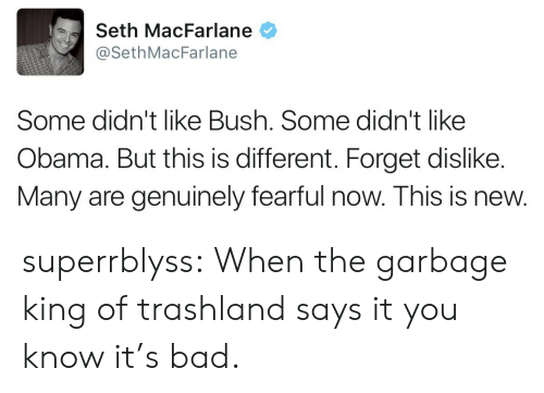 Seth MacFarlane: Seth MacFarlane  @SethMacFarlane  Some didn't like Bush. Some didn't like  Obama. But this is different. Forget dislike.  Many are genuinely fearful now. This is new. superrblyss:  When the garbage king of trashland says it you know it's bad.