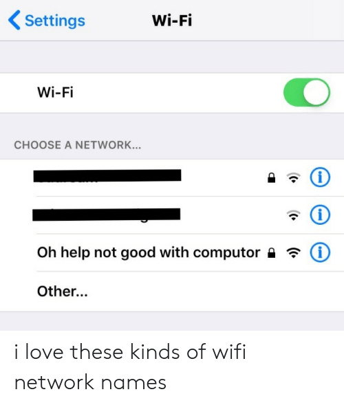 Love, Good, and Help: Settings  Wi-Fi  Wi-Fi  CHOOSE A NETWORK...  Oh help not good with computor  Other...  ((.  (t.  (. i love these kinds of wifi network names
