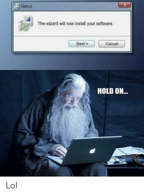 Setup: Setup  The wizard will now install your software  Next>  Cancel  HOLD ON... Lol
