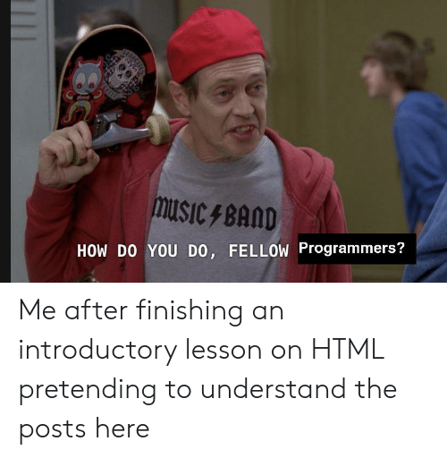 Finishing: SEVECT  HOW DO YOU DO, FELLOW Programmers? Me after finishing an introductory lesson on HTML pretending to understand the posts here