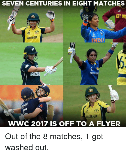 Memes, Australia, and 🤖: SEVEN CENTURIES IN EIGHT MATCHES  EST IND  AUSTRALIA  3  SR/  AUSTRALIA  WWC 2017 IS OFF TO A FLYER Out of the 8 matches, 1 got washed out.
