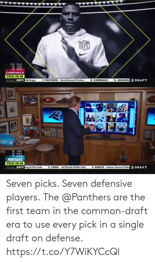 draft: Seven picks. Seven defensive players.  The @Panthers are the first team in the common-draft era to use every pick in a single draft on defense. https://t.co/Y7WiKYCcQl