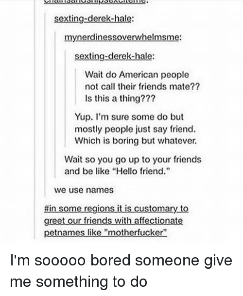"""Boredness: sexting-derek-hale:  mynerdinessoverwhelmsme:  sexting-derek-hale:  Wait do American people  not call their friends mate??  Is this a thing???  Yup. I'm sure some do but  mostly people just say friend.  Which is boring but whatever.  Wait so you go up to your friends  and be like """"Hello friend.""""  we use names  #in some regions it is customary to  greet our friends with affectionate  petnames like """"motherfucker"""" I'm sooooo bored someone give me something to do"""