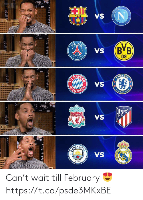 Till: SFOOTBEL  HRENA  VS  FCB  PARIS  (B'B  09  VS  SAINT  GERMAIN  AVERIN  VS  OHELSER  CHEN  HONDA  CLUB  FOOTBALL  YOUL NEVER WALKALONE  LIVERPOOL  VS  FOOTBALL CLUS  EST 1892  VS  CITY  STER Can't wait till February 😍 https://t.co/psde3MKxBE