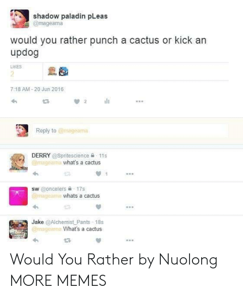 Dank, Memes, and Target: shadow paladin pLeas  @mageama  would you rather punch a cactus or kick an  updog  LIKES  2  7:18 AM-20 Jun 2016  Reply to @mageama  DERRY @Spritescience 욜-11 s  what's a cactus  sw @oncelers 슐 17s  whats a cactus  Jake @Alchemist Pants-18s  What's a cactus Would You Rather by Nuolong MORE MEMES