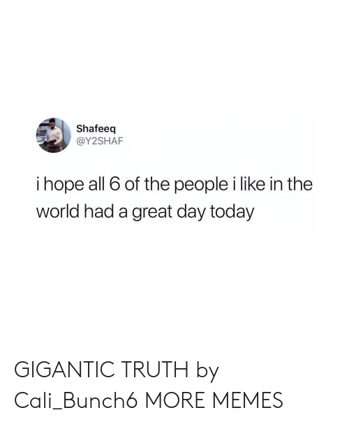 cali: Shafeeq  @Y2SHAF  i hope all 6 of the people i like in the  world had a great day today GIGANTIC TRUTH by Cali_Bunch6 MORE MEMES