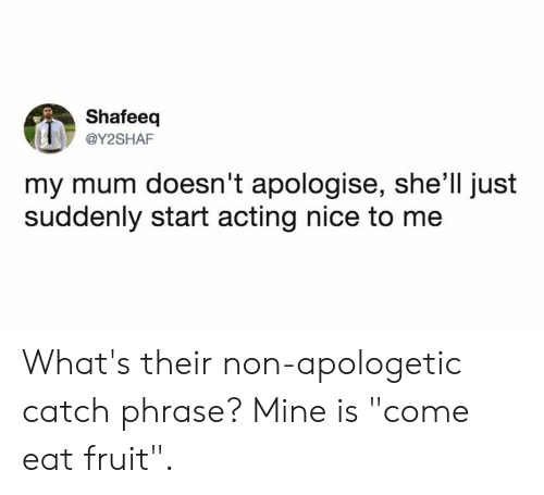 "Dank, Acting, and Nice: Shafeeq  @Y2SHAF  my mum doesn't apologise, she'll just  suddenly start acting nice to me What's their non-apologetic catch phrase?   Mine is ""come eat fruit""."