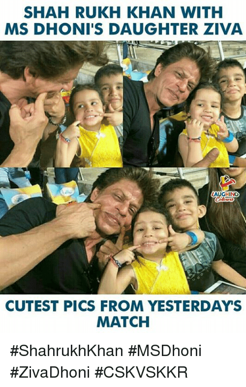shah rukh khan: SHAH RUKH KHAN WITH  MS DHONI'S DAUGHTER ZIVA  AUGHING  CUTEST PICS FROM YESTERDAYS  MATCH #ShahrukhKhan #MSDhoni #ZivaDhoni  #CSKVSKKR